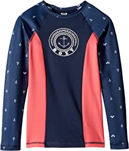 Roxy Kids - Tropi Roxy Long Sleeve Mix/Color Block Rashguard (Big Kids)