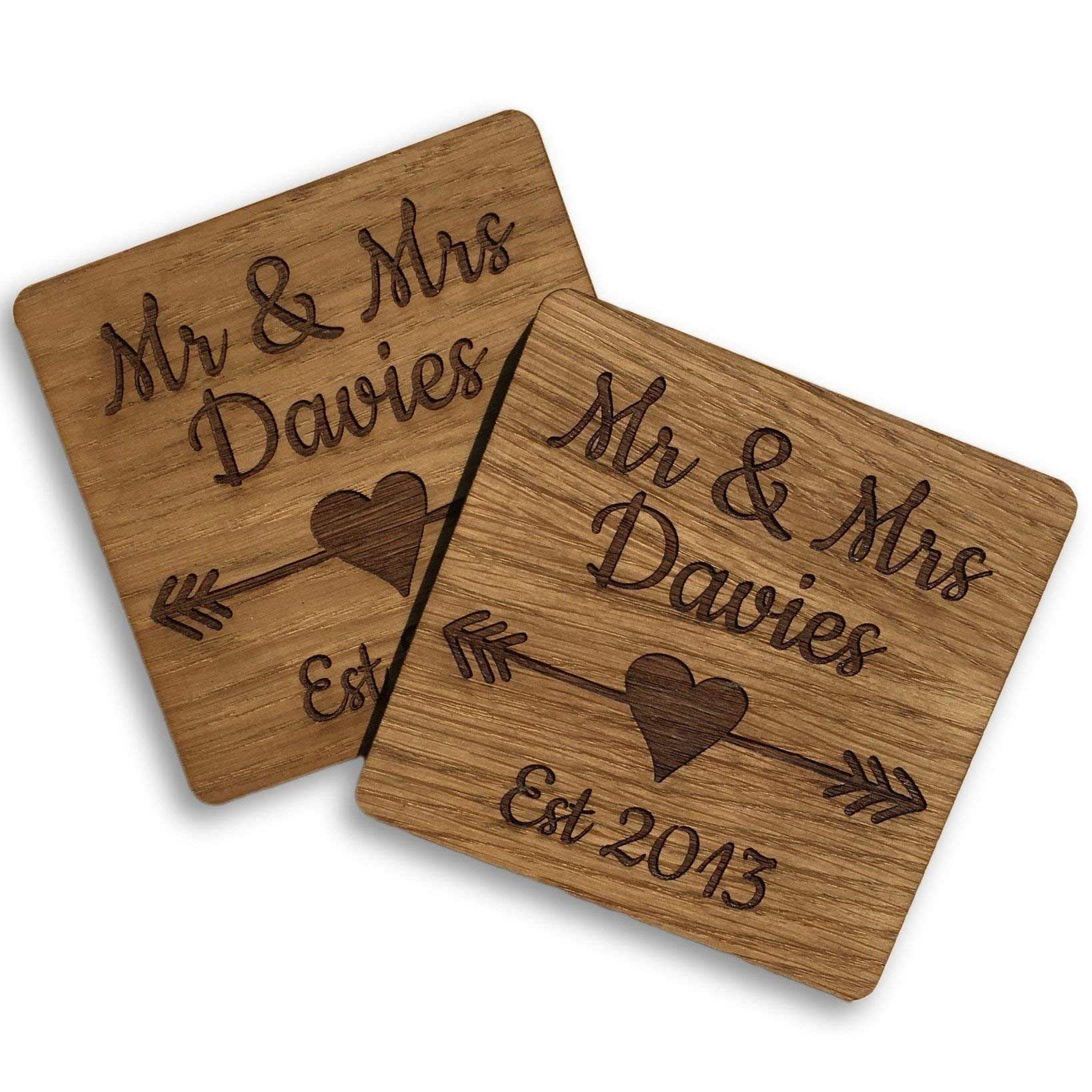 Set of 2 Wooden Mr u0026 Mrs Coasters Ideal Gift for Wedding or Anniversary  sc 1 st  Amazon UK & Wood Anniversary Gift: Amazon.co.uk