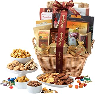Broadway Basketeers With Sympathy Gift Basket Deluxe with Gourmet Pastries, Seasoned Nuts & Sweets, Milk-Chocolate, 1 Count