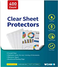 Sheet Page Protectors Binder Sleeves - Designed to Protect Frequently Used 8.5 x 11 inches Plastic Covers for Paper, for 3...