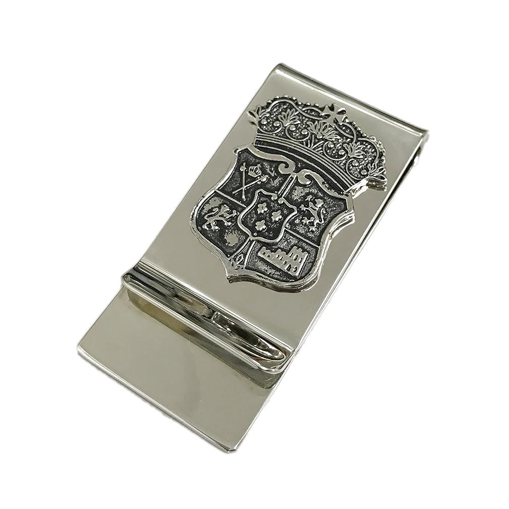 ペーストやけど錫マネークリップ 日本製 人気 ユニーク 王冠 クラウン エンブレム メンズ シルバー