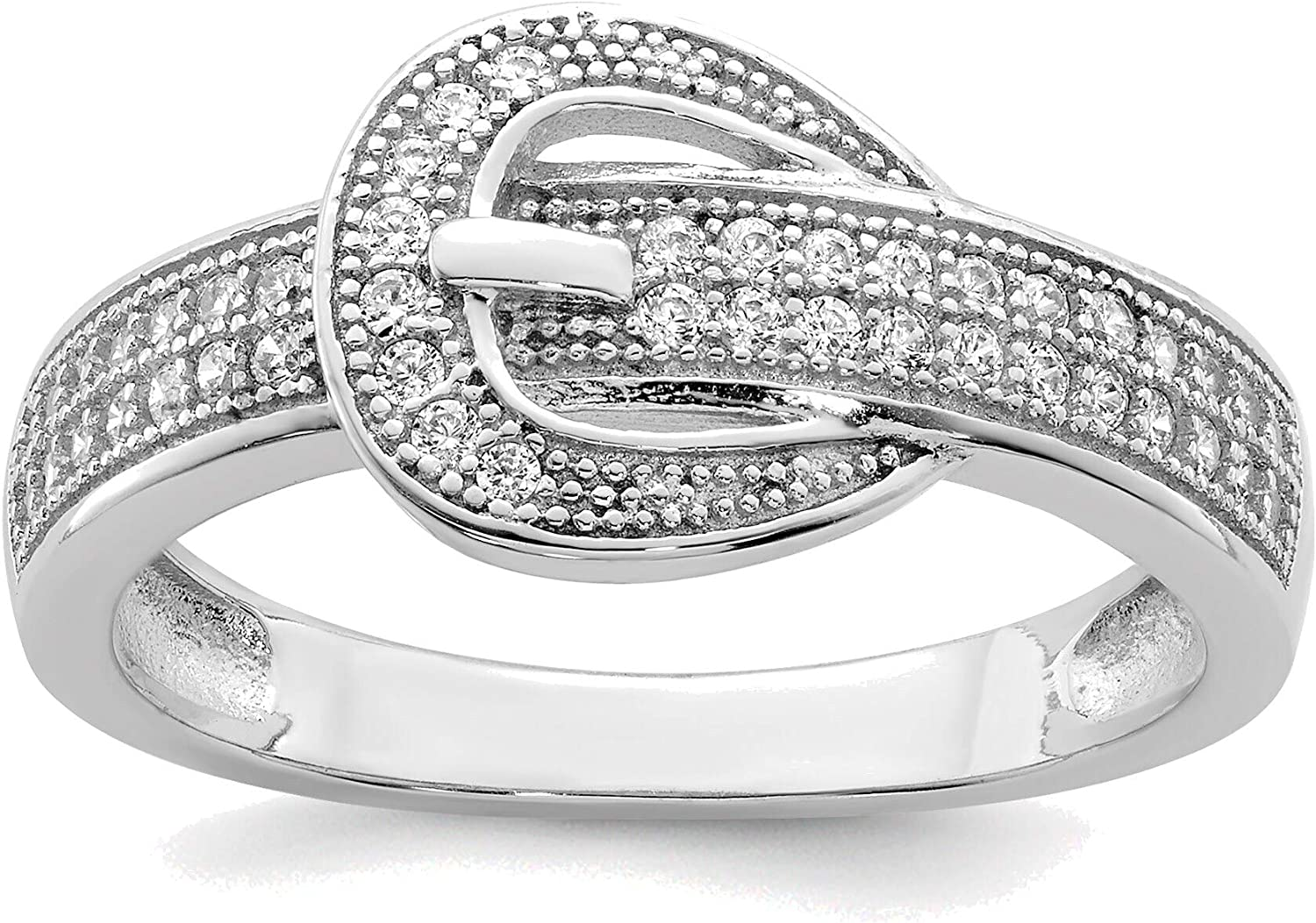 Outlet SALE Bonyak Jewelry Solid Sterling Silver Ri CZ Very popular Buckle Rhodium-Plated