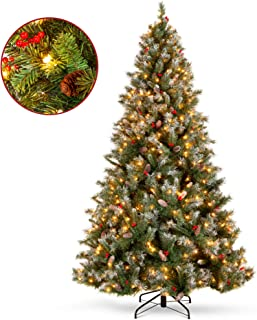Best Choice Products 9ft Pre-Lit Pre-Decorated Holiday Christmas Tree w/ 2,058 Flocked Tips, 900 Lights, Base