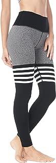 QUEENIEKE Women Yoga Leggings Knee-high Sock Workout Running Pants(M, Black/Grey Space Dye)