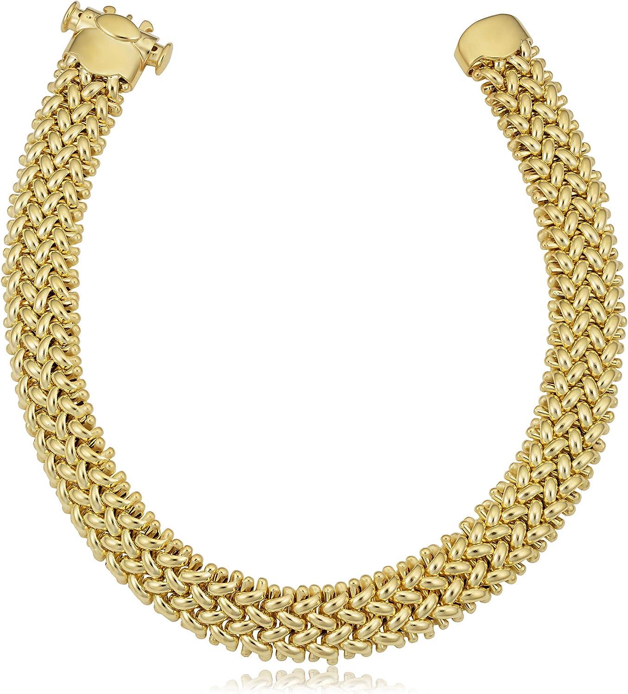KoolJewelry 18k Yellow Gold Weave Bracelet Outlet Translated SALE mm Women 9.2 7. for