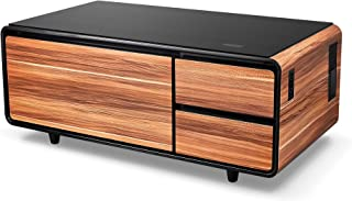 Sobro SOCTB300WDBK Coffee Table with Refrigerator Drawer Bluetooth Speakers, LED Lights, USB Charging Ports for Tablets, Laptops, or a Cell Phone - Perfect for Parties or Entertaining, Wood
