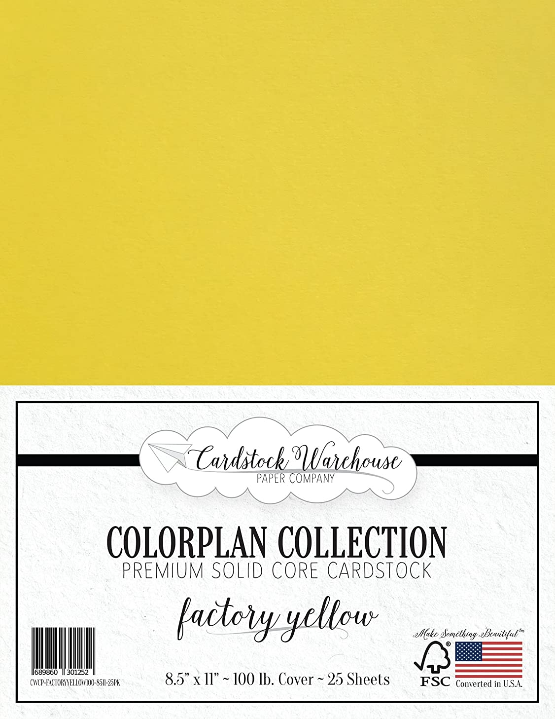 Factory Yellow Cardstock Paper - 8.5 x 11 inch Premium 100 lb. Cover - 25 Sheets from Cardstock Warehouse