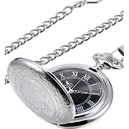Quartz Pocket Watch for Men with Black Dial and Chain