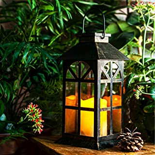 Solar Lantern–Outdoor Classic Decor Bronze Antique Metal and Glass Construction Mission..