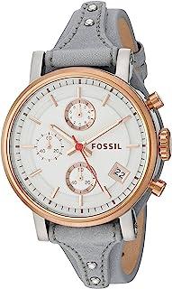 Fossil Original Boyfriend Sport Women's White Dial Leather Band Chronograph Watch - ES4045