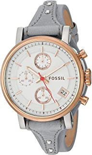Fossil Original Boyfriend Sport Women's White Dial Leather Band Chronograph Watch - ES4045