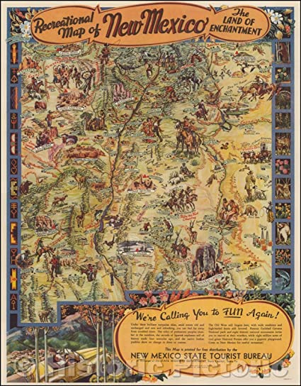 Historic Map Recreational Map Of New Mexico The Land Of Enchantment 1947 Wilfred Stedman Vintage Wall Art 44in X 57in Posters Prints