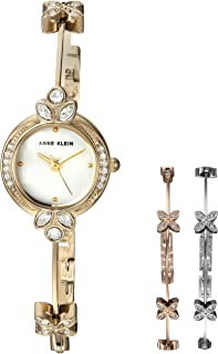 Women's Swarovski Crystal Accented Gold-Tone Watch and Bangle Bracelet Set
