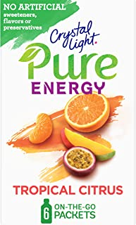Crystal Light Pure Energy Tropical Citrus Drink Mix (48 On the Go Packets, 8 Boxes of 6)