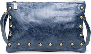 product image for Denim Blue distressed Leather Medium Studded Crossbody Clutch