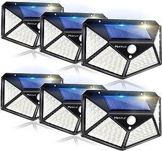 Solar Lights Outdoor 6 Pack, 100LED/3 Modes 270° Lighting Angle Motion Sensor Security Lights, Wireless IP65 Waterproof Wa...