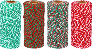 TecUnite 1312 feet Totally Christmas Baker Twine Cotton String Gift Wrap Cord Wrapping Arts Crafts, 4 Rolls, Assorted Colors