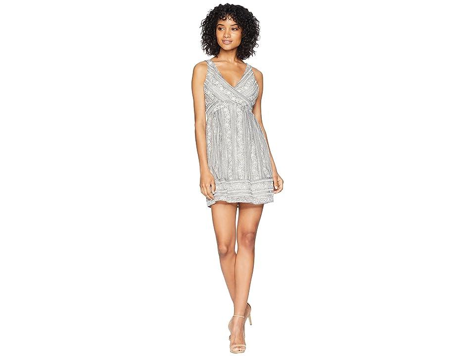 BCBGeneration Cut Out Bodice Overlay Dress (Light Stone Grey Combo) Women