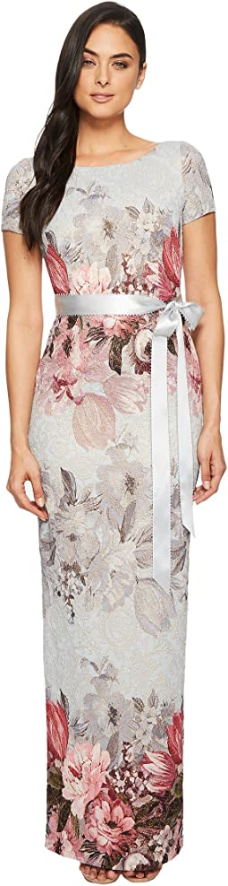Adrianna Papell - Long Floral Short Sleeve Dress
