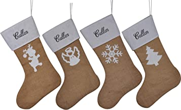 HUAN XUN Personalized Burlap Christmas Stockings Custom Name Cruz Best Tree Fireplace for Home Familys