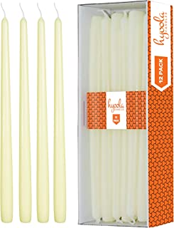 Hyoola 12 Pack Tall Taper Candles - 12 Inch Ivory Dripless, Unscented Dinner Candle - Paraffin Wax with Cotton Wicks - 10 Hour Burn Time