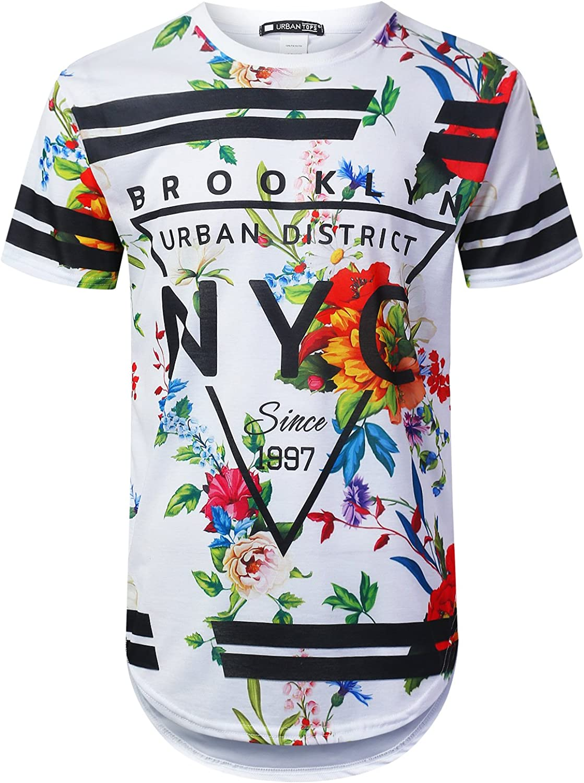 URBANTOPS Mens Hipster Hip Hop City Graphic Longline T-Shirt (Various Styles)