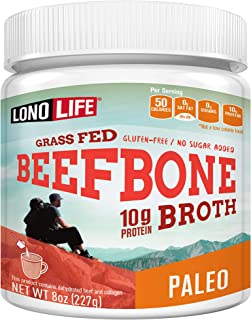 Beef Bone Broth Powder by LonoLife, Grass Fed, 10g Collagen Protein, Keto & Paleo Friendly, Low-Carb, Gluten Free, 8oz Bul...