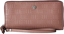 Emboss Lion Logo Slim Zip Around Wristlet