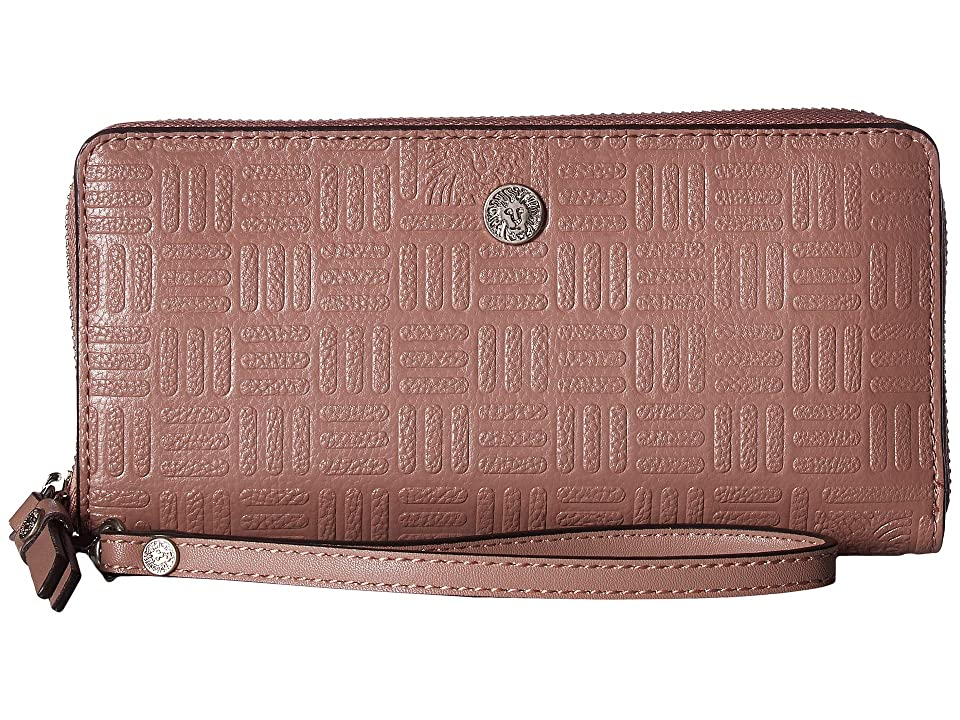Anne Klein Emboss Lion Logo Slim Zip Around Wristlet (Lilac) Handbags