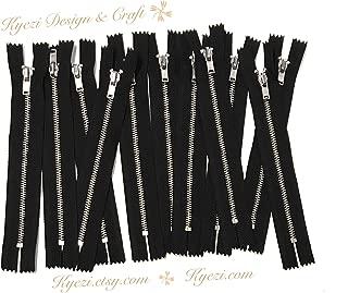 10 pcs Silver Metal Teeth #3 Teeth Zippers - Fast Shipping [Kyezi Design & Craft] (Black, 5 inch)