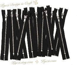 10 pcs Silver Metal Teeth #3 Teeth Zippers - Fast Shipping [Kyezi Design & Craft] (Black, 7 inch)