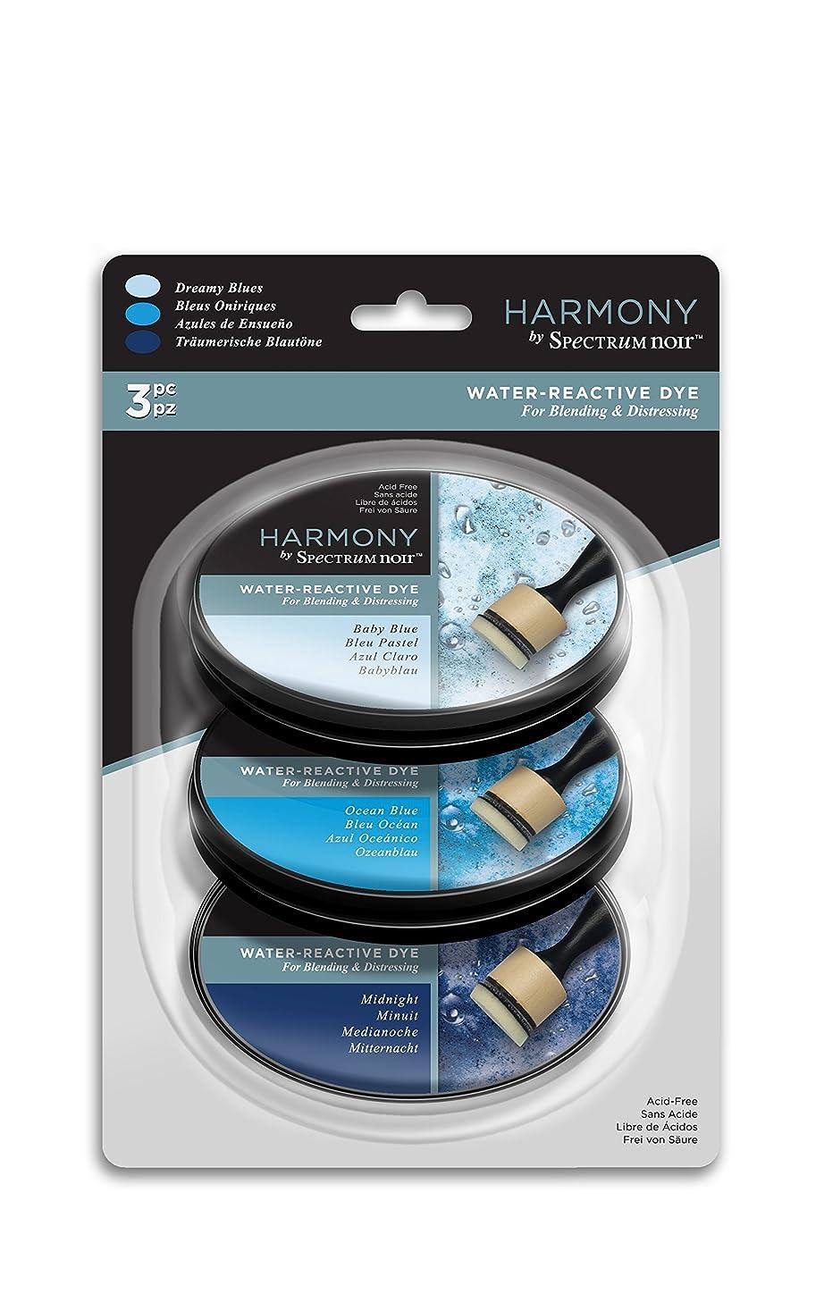Spectrum Noir SN-IP-HWR3-DBLU Harmony 3PC (Dreamy Blues) Water Reactive Ink Pad,