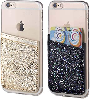 2Pack Glitter Adhesive Phone Pocket,Cell Phone Stick On Card Wallet,Credit Cards/ID Card Holder(Double Secure) with 3M Sticker for Back of iPhone,Android and All Smartphones-Gold&Black