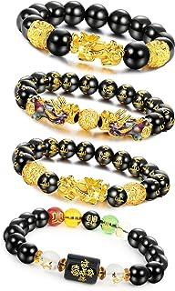 LOLIAS 4Pcs Feng Shui Pi Xiu Good Luck Bracelets for Men Women Black Obsidian Mantra Bead Attract Wealth Money Bracelet
