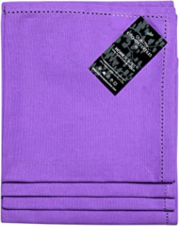 HOMESCAPES Serviettes de Table en Coton, Lot de 4, Linge de Table uni, Violet