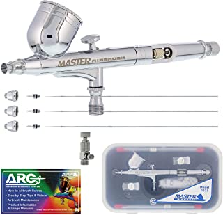 Master Airbrush Master Performance G233 Pro Set with 3 Nozzle Sets (0.2, 0.3 & 0.5mm Needles, Fluid Tips and Air Caps) - D...