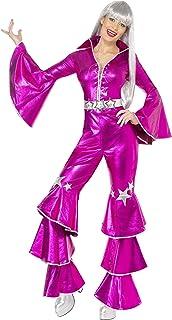 Smiffy's Women's 1970's Dancing Dream Costume, Lace up Jumpsuit