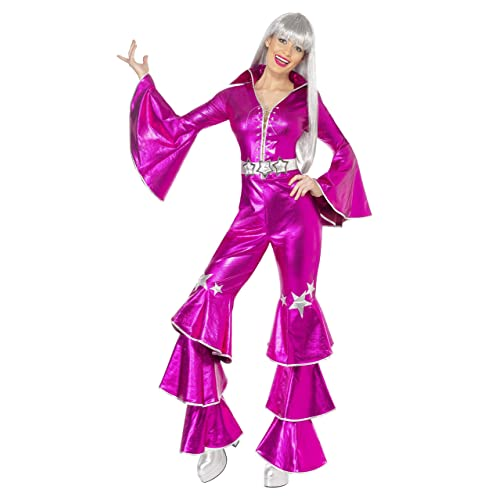 Smiffys Sexy Retro 70s Disco Pink Jumpsuit Adult Halloween Costume