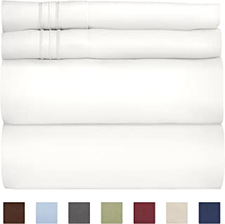 Queen Size Sheet Set - 4 Piece Set - Hotel Luxury Bed Sheets - Extra Soft - Deep Pockets - Easy Fit - Breathable & Cooling Sheets - Wrinkle Free - Comfy - White Bed Sheets - Queens Sheets – 4 PC