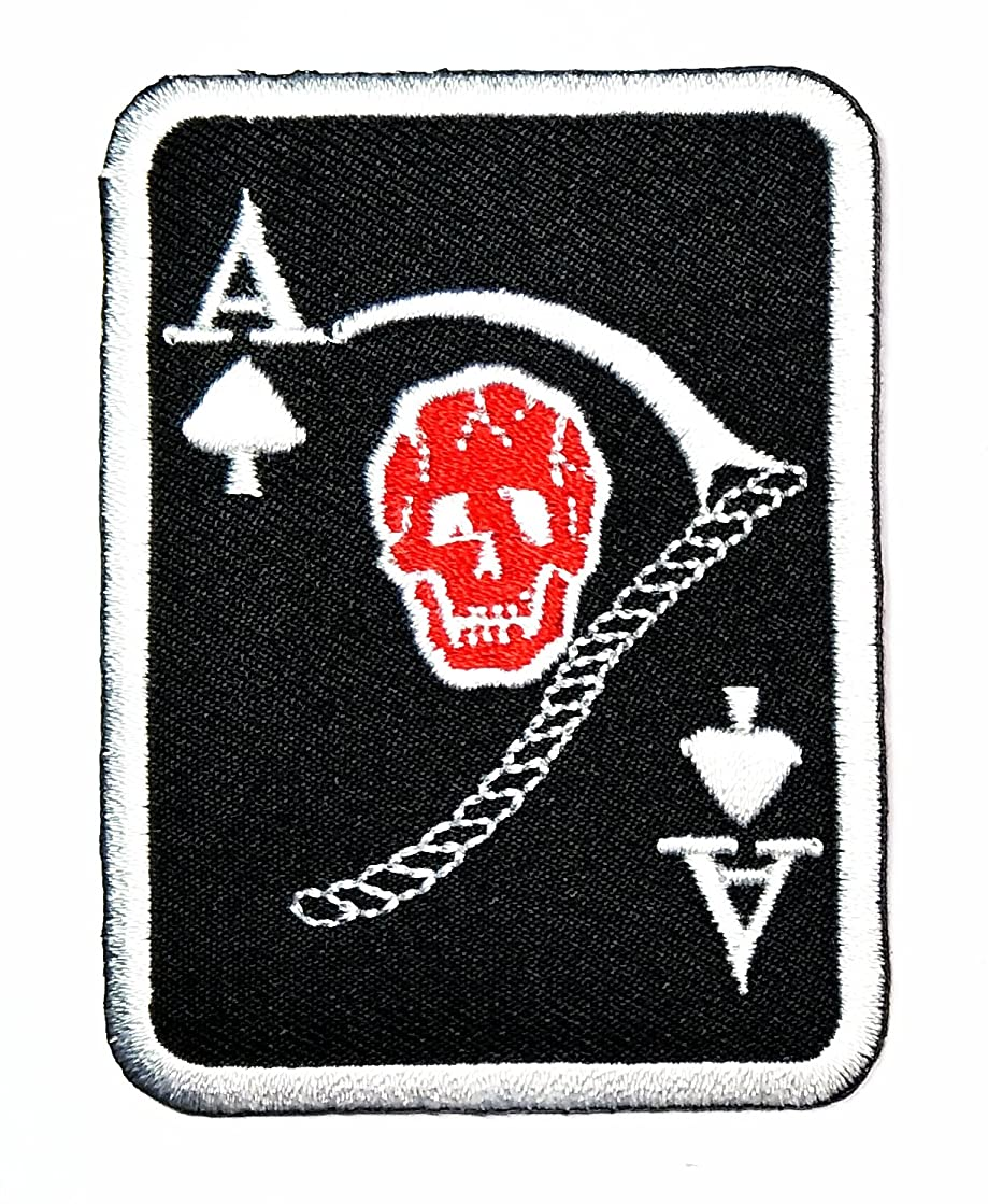 HHO Spade ace card Skull Scythe Grim Reaper Spade Card Logo Lucky Biker Iron patch Embroidered DIY Patches, Cute Applique Sew Iron on Kids Craft Patch for Bags Jackets Jeans Clothes