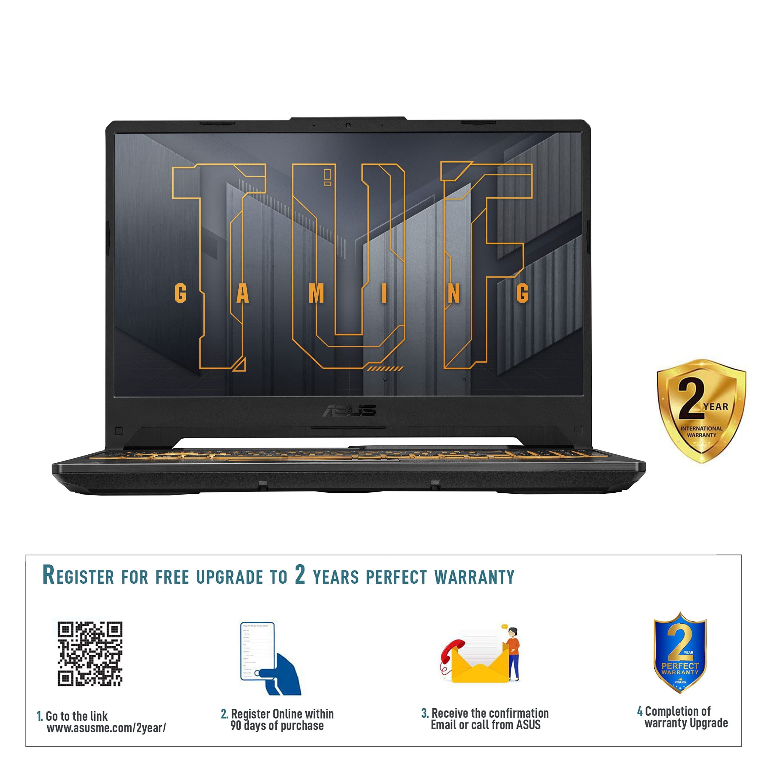 ASUS TUF Gaming F15 FX506HCB-HN1138T Eclipse Gray 6 Core 11th Gen Intel Core i5 CPU 2.7GHz, 8GB RAM, 512GB SSD, NVIDIA GeForce RTX3050, 15.6''FHD 144Hz, HD Webcam, Win10, Backlit-Eng-Arb-KB.