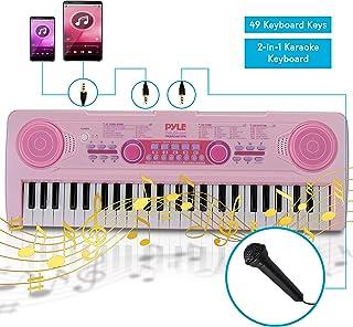 Electric Keyboard Piano for Kids-Portable 49 Key Electronic Musical Karaoke Keyboard, Learning Keyboard for Children w/Drum Pad, Recording, Microphone, Built-in Speaker-Pyle PKBRD4911PK (Pink)