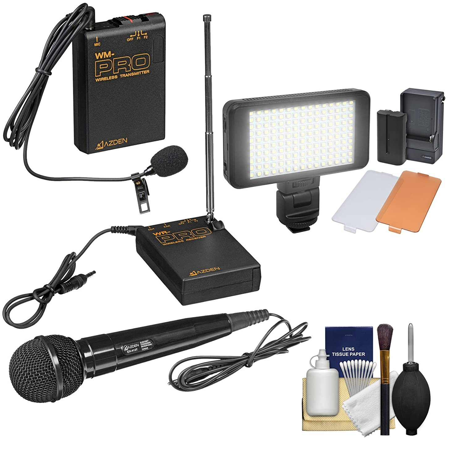 Azden WMS-PRO Wireless Microphone System (Handheld & Lavalier) with LED Video Light + Cleaning Kit