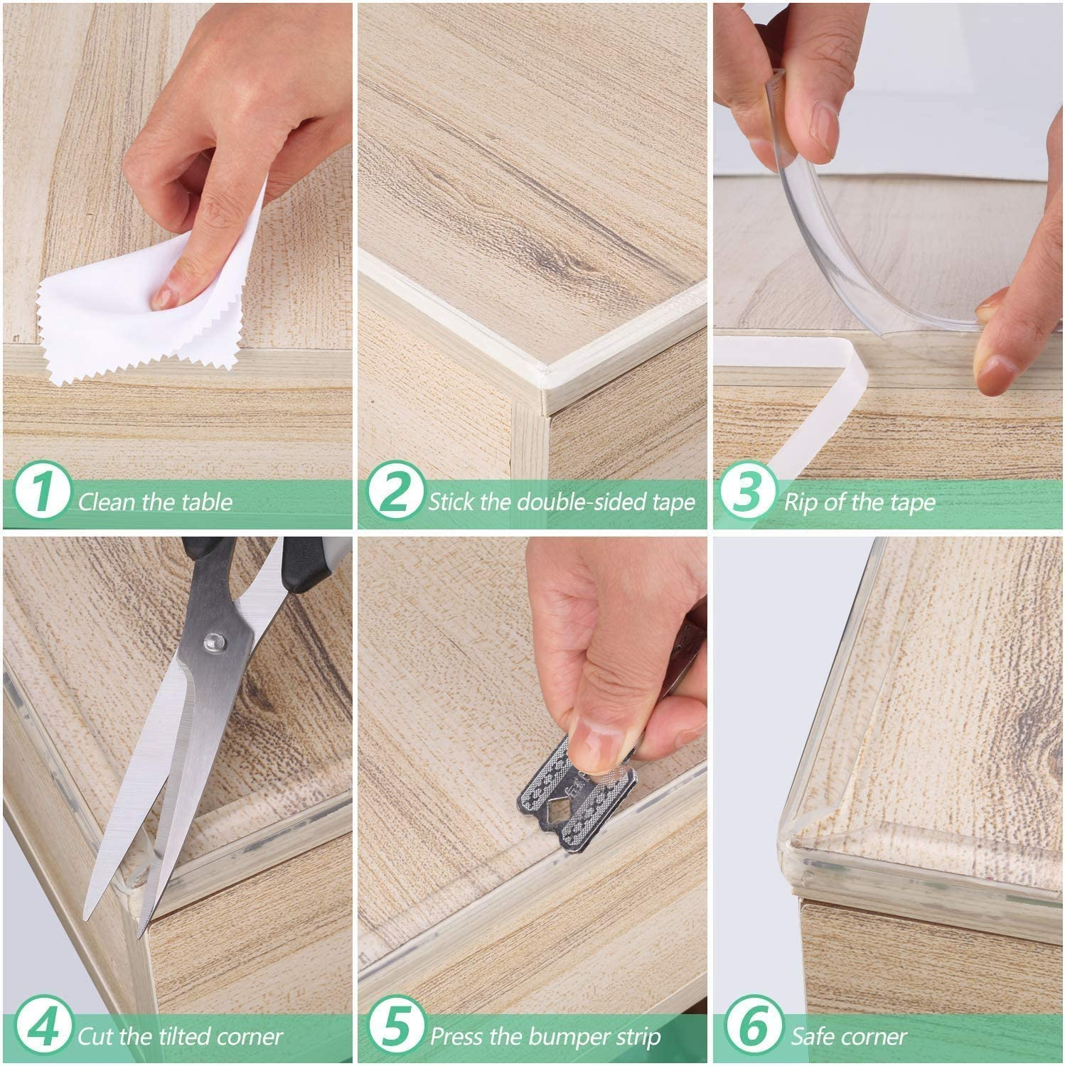 E-PROUSE Baby Furniture Table Edge Protectors 3M//10FT Corner Protectors Strip 4 Pack Corner Protectors for Cabinets,Tables