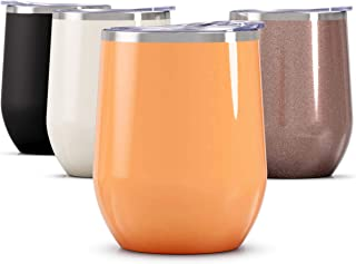 Maars Bev Stainless Steel Stemless Wine Glass Tumbler with Lid, Vacuum Insulated 12 oz..