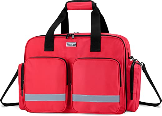 Trunab Medical Bag Empty First Aid Bag for Nurse, Doctor, Paramedic, Home Care Nursing Bag with Padded Layer for Laptop, Bag Only, Patented Design, Red