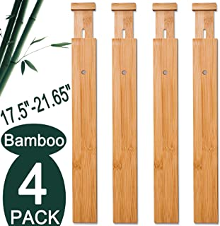 "$28 » 4 Pack Bamboo Drawer Dividers, Spring Loaded Adjustable Drawer Separators (2.1"" High, 17.5""-21.65""), Perfect Expandable Wooden Drawer Dividers for Kitchen, Bedroom, Bathroom, Dresser & Office"