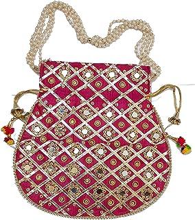 Ruchit Handicraft Women's Rajasthani Style Silk Potli Gota Patti Handbag, Potlis Drawstring Hand-Carry Valentine Gift (Pink)
