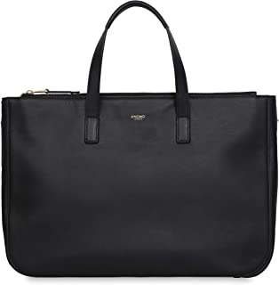 """Knomo Mayfair Luxe Derby, 14"""" Leather Tote, with Removable Strap, Device Protection, RFID Pocket and KNOMO ID, Black"""