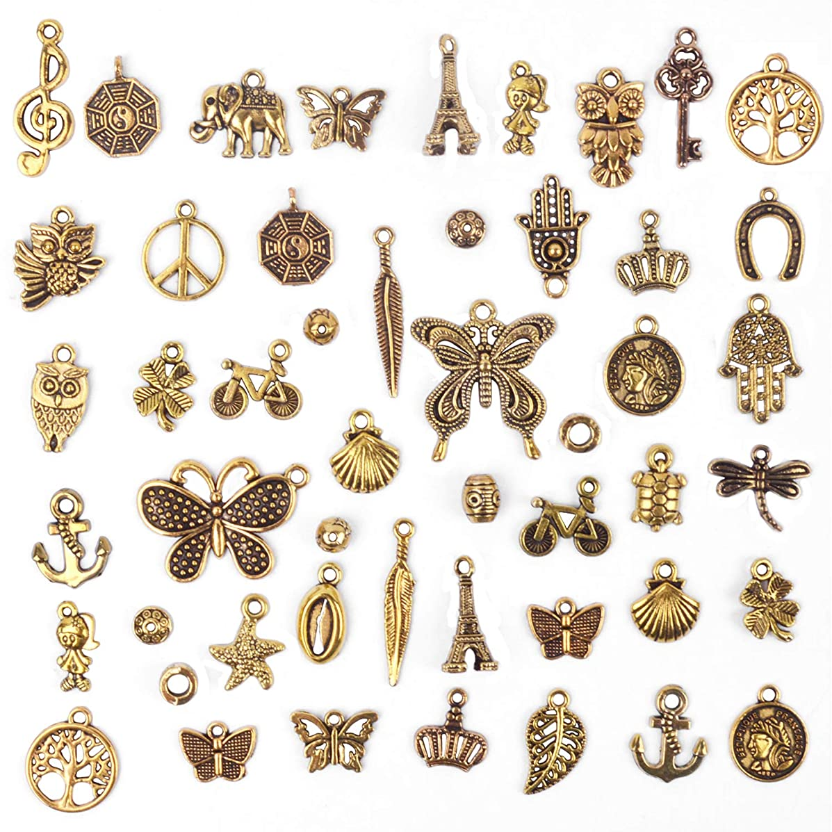 BronaGrand 50 Pieces Mixed Bracelet Charms Antique Necklace Pendants Bulk Pack for Craft and Jewelry Making, Antique Gold